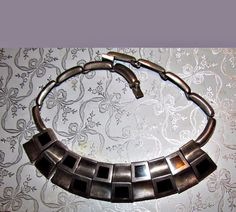 vtg mod taxco sterling silver onyx curved rectangles necklace antonio pineda?