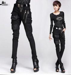 Women Personalized long pants Slim feet thin trousers metal belt black pant W464  | eBay