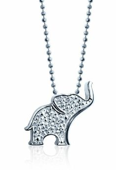 "Alex Woo ""Little Luck"" Diamond and 14k White Gold Elephant Pendant Necklace, 16"""