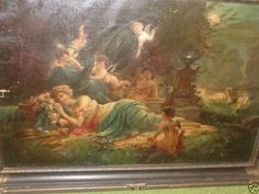 ANTIQUE VICTORIAN SIGNED G MARNAY FRENCH SCHOOL LADY CHERUBS ROSES ...