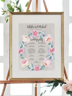 Floral Wedding Program Sign Romantic Wreath Welcome Sign