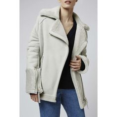 Shearling Oversized Biker by Boutique ($1,235) ❤ liked on Polyvore featuring outerwear, jackets, pale grey, topshop, shearling biker jacket, oversized jacket, motorcycle jacket and shearling jacket