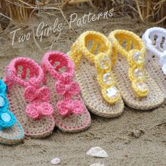 Crocheting: Baby Seaside Sandals. ++GANCHILLO SANDALIAS NIÑOS BEBE NIÑA  VERANO ROSA AMARILLO BLANCO