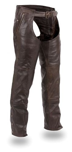 Leather brown chaps with snap out liner