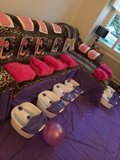 leopard, pink and purple spa party for children, kids and teen girls in London. Birthday Sleepover Ideas, Hotel Birthday Parties, Sleepover Birthday Parties, Girl Sleepover, 18th Birthday Party, Birthday Party For Teens, Paris Birthday, Bachelorette Parties, Birthday Goals