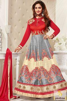 #Red Grey Color Television Actress Salwar Kameez Online #TvActresssalwarsuit, #jeevikadresses, #krystledsouzasalwarkameez More : http://www.pavitraa.in/store/designer-dresses-collection/?utm_source=mk&utm_medium=pinterestpost&utm_campaign=20May