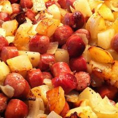Simple Hot Dog and Potato Hash This was awesome. Such an easy and quick meal! I seasoned it with some seasoning salt, basil and Mrs. Dash. I also sliced the potatoes fairly small (you could even use bagged hash brown pieces) so it cooked in about 40 minutes.