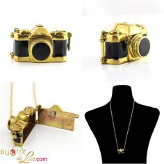 It's in the form of vintage compact camera with a back that swings open so you can keep trinkets in it. 3d Camera, Retro Camera, Brass Pendant, Bangles, Bracelets, Locket Necklace, Brass Chain, Black Enamel, Swings