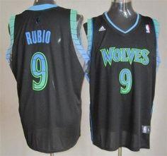 Timberwolves #9 Ricky Rubio Black Vibe Stitched NBA Jersey