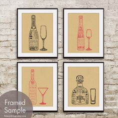 Champagne, Ice Wine, Vodka and Tequila (Top Shelf Alcohol Series) Set of 4 8x10 Art Prints (Featured in Tac Board) on Etsy, $38.85