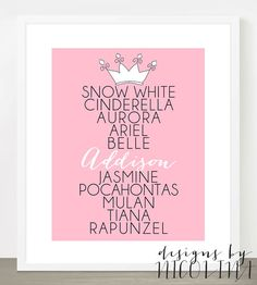 DISNEY PRINCESS 8 x 10 Custom Designed Wall by designsbynicolina, $18.50