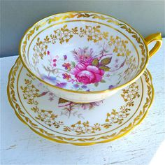 Vintage Paragon Floral and Gold Tea Cup and by twolittleowls, $42.00