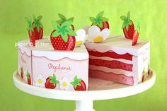 $4.50 Strawberry Shortcake Paper Cake favor party box printables - Editable Text Printable PDF