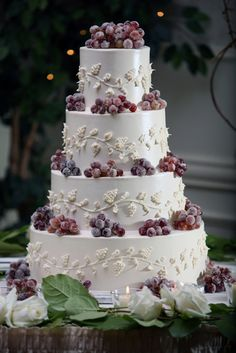 Wine Theme Wedding Cake With Frosted Grapes