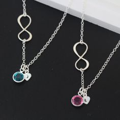 Mother daughter necklace  INFINITY Necklace Initial and by MonyArt, $59.80