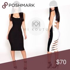 """Two Faced Dress by Kimi Kouture Never been worn black and white dress custom made to 38"""" bust x 33"""" waist x 42"""" hip measurements. Fits like a size 6. Kimi Kouture Dresses Midi"""