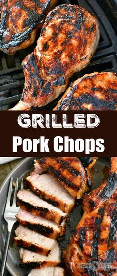 These juicy grilled pork chops are full of flavor and take very little effort to make. Marinade the pork in a delicious homemade marinade for a few hours and then fire up your grill. #pork #porkchops #grilledpork #grilling #grilledmeats #porkmariande Pork Recipes For Dinner, Grilling Recipes, Summer Recipes, Cooking Recipes, Recipe For Mom, Recipe Ideas, Grilled Pork Chops, Vegan Recipes, Savoury Recipes