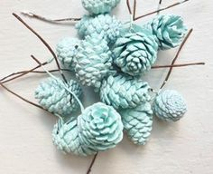 I love the idea of dipping pine cones in paint, silver, blue, or white, for centerpieces or decoration on the desert table