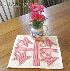 """Tiny Wonder! 1890s Basket Doll Table QUILT Double Pink SMALL SCALE 10"""""""
