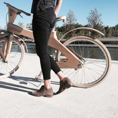 """My beloved """"low profile"""" booties And my cocomat wooden bike ! Stylish Www.most-chic.com"""