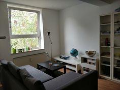 Kleines, modernes Wohnzimmer mit grauem Sofa und weißem Regal. #wggesuchtde #wggesucht #wgzimmer #ideen #inspiration #sofa #einrichtung #tisch #regal #weiß #fenster #wohnzimmer Modern, Gray Sofa, Living Room Inspiration, Table, Trendy Tree