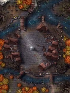 Fantasy City, Fantasy Map, Fantasy Places, Dark Fantasy Art, Medieval Fantasy, Dungeons And Dragons Art, Dungeons And Dragons Homebrew, Pathfinder Maps, Village Map