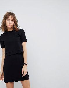 b53ab1b544 ASOS Scalloped Hem Mini Dress With Crop Top - Black Asos Black Dress