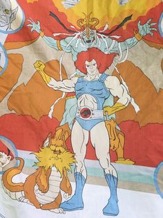 Thundercats vintage fitted twin sheet / telpix 1985 eighties cartoon rare bedding / fabric cutter bedroom hipster nursery cheetara snarf by cortigiana on Etsy https://www.etsy.com/listing/494503848/thundercats-vintage-fitted-twin-sheet