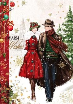 Vintage - it's christmas & love is in the air! Christmas Scenes, Noel Christmas, Christmas Fashion, Vintage Christmas Cards, Retro Christmas, Christmas Pictures, Xmas Cards, Christmas Greetings, Winter Christmas