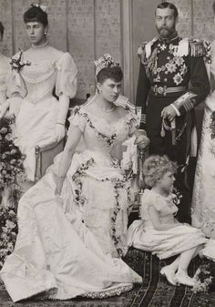 Queen Mary and King George V on their wedding day (July 6, 1893)