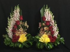 Beautiful arrangement flowers for temple