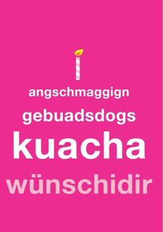 Doppelkarte: anschmaggign gebuadsdogs kuacha wünschidir
