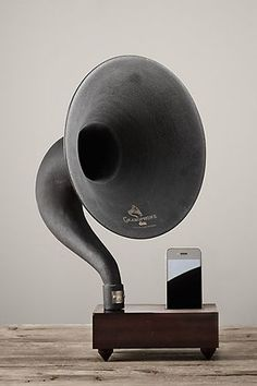 iPhone Gramaphone - Restoration Hardware. We just bought this for our daughter's birthday....she loved it!