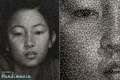 gorgeous // Japanese artist Kumi Yamashita creates mind-boggling portraits by wrapping a single UNBROKEN black thread around galvanized nails. Kumi Yamashita, Art Du Fil, Thread Art, Black Thread, Portraits, Japanese Artists, String Art, Constellations, Female Art