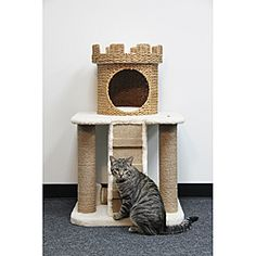 """Pet Pals Go Green! 3-level Castle Home Cat Tree 39""""H x 24""""W x 24""""D. #$114.99. Reviewer stated it is Pier 1 or West Elm cat house!! GREAT LOOKING"""