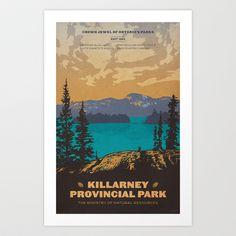 Killarney Park Poster Stationery Cards by Cameron Stevens - Set of 10 Folded Cards x Framed Art Prints, Poster Prints, Canvas Prints, Poster Wall, Vintage Images, Vintage Posters, Ontario Parks, Kunst Poster, Folded Cards