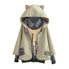 Hooded Button Down Tweed Plaid Lining Cute Patchwork Cape (€40) ❤ liked on Polyvore featuring outerwear, jackets, bhalo, cape, cat, coats, wool cape, hooded cape, brown cape and cape coat