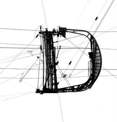 A Typeface made out of images of power lines. It plays with the contrast between industrial rough black and white look and fine renaissance antiqua letterforms. i did that years ago in art school but it has still some power.