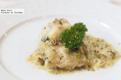 Receta de Bacalao con cebolletas y mostaza. Con fotografías paso a paso. Consejos de elaboración y degustación. Recetas de pescados. Recetas de Semana Santa