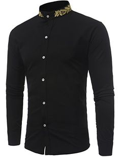 pujingge Men Stand Collar Long Sleeve Button Down Slim Fit Dress Shirt