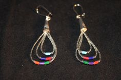 Southwest Hand Strung Liquid Sterling Silver Multicolor Hook Earrings