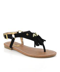 This Black Fringe Lynk Sandal is perfect! #zulilyfinds