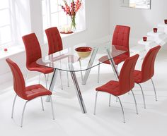 Piazzo 160cm Glass Dining Table with Calgary Chairs.