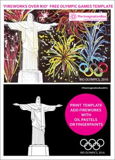 The ImaginationBox: Create an explosive firework display over the Olympic City of Rio de Janeiro with this free template of the famous statue, Christ the Redeemer. Use oil pastels, chalk pastels or get those fingers painting!