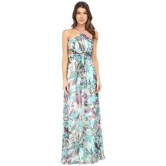 Aidan Mattox Printed Chiffon Long Halter Gown with Side Cut Outs... ($295) ❤ liked on Polyvore featuring dresses, gowns, chiffon gown, long gowns, long dresses, halter top and green chiffon dress