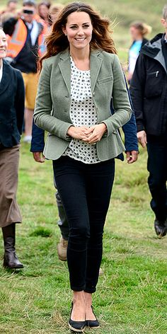 DUCHESS CATHERINE Baby weight, what!? Just five weeks after giving birth, the royal mum slipped on some really skinny trousers, a patterned silk Zara blouse (which she recycled!) and a green Ralph Lauren blazer to cheer on runners at the Ring of Fire race in Anglesey, Wales.
