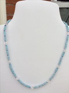 SOLD - Sky Blue Quartzite and Swarovski crystals