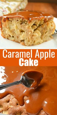 Caramel Apple Cake recipe is a fall favorite! A delicious cake recipe for Thanksgiving dessert! Tender apple cinnamon cake is poked and covered with delicious homemade caramel! Caramel Apple Cake is delicious plain or topped with a scoop of ice cream from Serena Bakes Simply From Scratch. Holiday Desserts, Fun Desserts, Holiday Recipes, Delicious Desserts, Yummy Food, Christmas Recipes, Best Apple Recipes, Best Dessert Recipes, Sweet Recipes
