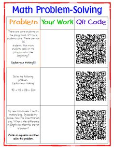 Math problems with QR codes for checking.  Excellent to use for centers.  Students get feedback from QR code. Transforming Teaching and Learning with iPads: Code Your Class with QR Codes