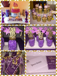Purple and Gold Theme graduation party...for invitation, thank you tags, centerpieces and cupcake toppers check out the listings on my board.